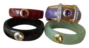 Other Jade Rings Set with 14K Gold Enhancer Green Red Purple Black