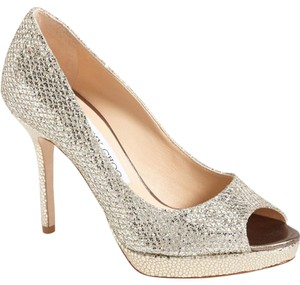Jimmy Choo Luna Glitter Peep Toe Heeled Pumps
