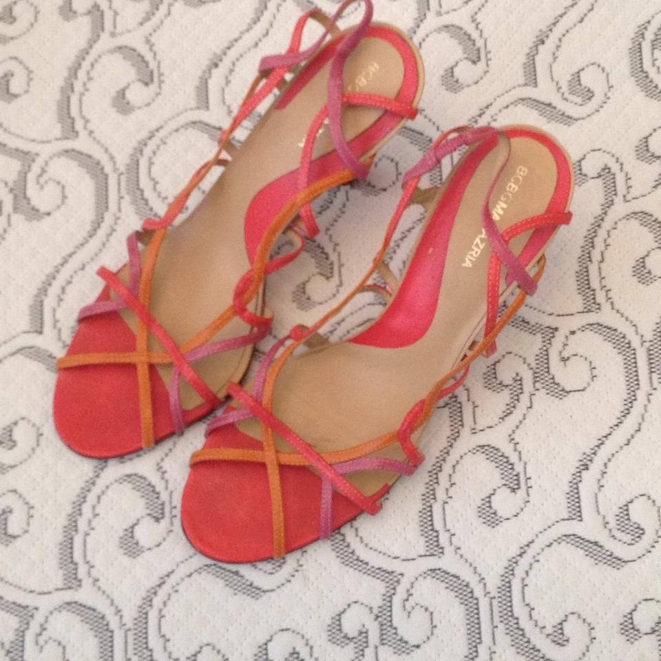1ffa4e9432 BCBGMAXAZRIA Orange Pink Strappy Sandals with Heels Pumps Size US 8 ...