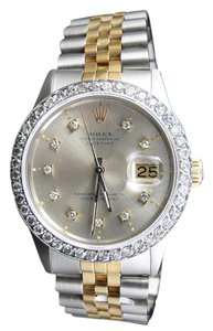 Rolex Mens Excellent 2 Tone Rolex Diamond Watch 18k/Steel Band 2.1 Ct