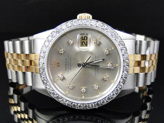 Rolex Mens Datejust Two Tone 16013 Diamond Watch 18k/Steel Band 2.5 Ct Image 6