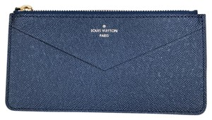 Louis Vuitton Brand New Blue Leather Zippy Pochette Wallet From Jeanne