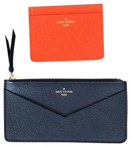 Louis Vuitton WOW! Brand New Orange Credit Card Holder and Blue Pochette Wallet