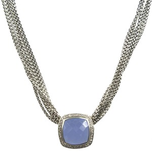 David Yurman David Yurman Blue Chalcedony Diamond Pendant Choker Necklace