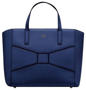 Kate Spade Leather Bows Pebbled Navy Tote in french navy