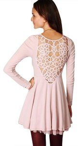 Free People short dress Pink Lace Longsleeve Crochet on Tradesy