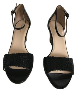 Cole Haan Wedge Ankle Strap Woven Toe Strap Like New Black Sandals