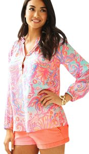 Lilly Pulitzer Elsa Silk Top Too much bubbly