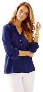 Lilly Pulitzer Elsa Silk Top Navy
