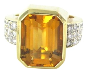 14K SOLID YELLOW GOLD 30 DIAMOND 1.0 CARAT 13.8 GRAMS SZ 9 COLORED STONE RING