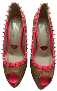 Red Kiss Stiletto Opentoe Fun Bright Studded Pink Pumps