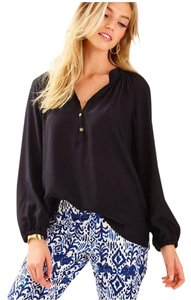 Lilly Pulitzer Elsa Silk Top Black
