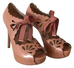 Joan & David Tie Cutouts Lace Rose Gold Pink Platforms