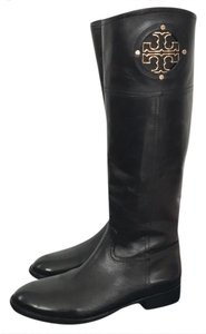 Tory Burch Tall Riding Riley Jolie Monogram Black Boots