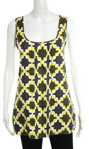 Tory Burch Silk Sleeveless Logo Top yellow