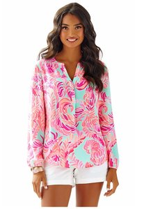 Lilly Pulitzer Stacey Silk Top Love Birds Pink