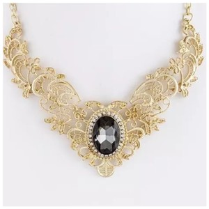 Other D15 Gold Filigree Clear Crystal Victorian Necklace