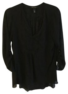 White House | Black Market Sheer Embroidered Long Top Black