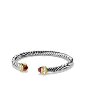 David Yurman Cable Classics Bracelet with Garnet, Diamonds and 18K Gold, 5mm