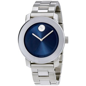 Movado Navy Blue Sun Ray Dial Silver Stainless Steel Designer Watch