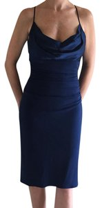Laundry by Shelli Segal Cocktail Formal Navy Silk Sexy Dress