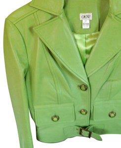 Cache Lime green leather skirt suit