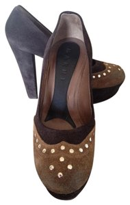 Marni Riveted Suede Chunky Leather Brown Pumps
