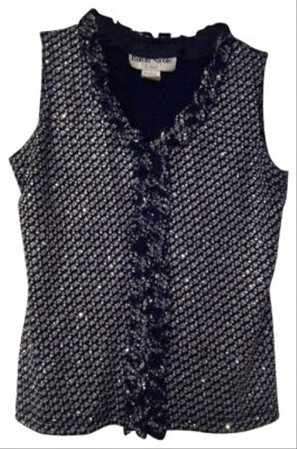 Ronni Nicole Top Black with glittery silver accent pattern