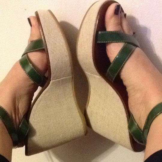 Prada Green With Brown Wedges