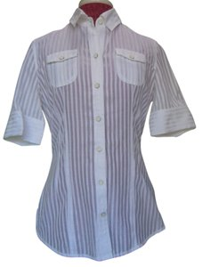 Banana Republic Top White & Sheer Stripe
