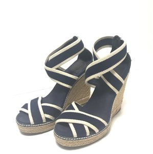 Tory Burch blue and white Wedges