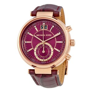 Michael Kors Plum and Rose gold Dial Leather Strap Designer Ladies Watch
