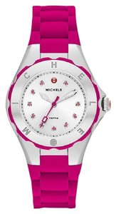 Michele Pink Silicone Strap Crystal markers Silver Stainless Steel Watch