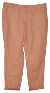 Ann Taylor LOFT Casual Resort Linen Straight Pants Peach