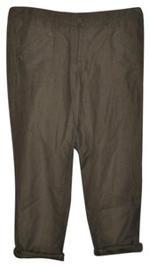 Ann Taylor LOFT Casual Resort Linen Straight Pants Olive Green