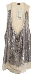 Sparkle & Fade Sequins Satin Racerback Top Silver