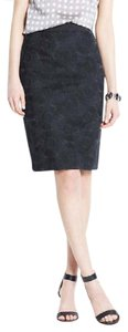 Ann Taylor LOFT Pencil Floral Brocade Satin Skirt Black