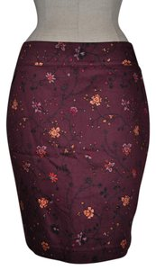 Ann Taylor LOFT Floral Pencil Skirt Red