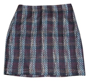 Ann Taylor LOFT Woven Plaid Serape Business Tweed Mini Skirt