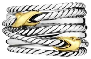 David Yurman Double X Crossover Two Tone Ring