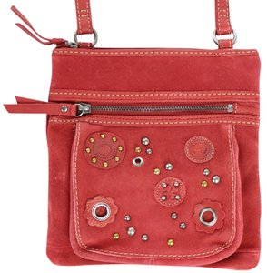 Fossil Rocker Studded Floral Party Rivets Cross Body Bag