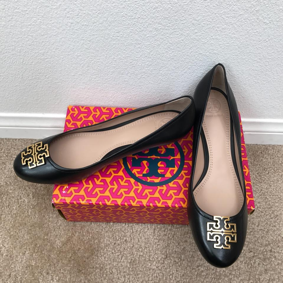 69c5bab9a0 Tory Burch Black/ Gold Melinda Closed Toe 45mm Wedges Size US 10.5 ...