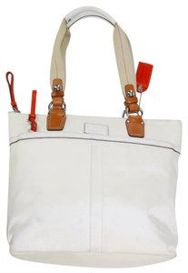 Coach Classic Silver Hardware Summer Spring Damier Canvas Tote in White