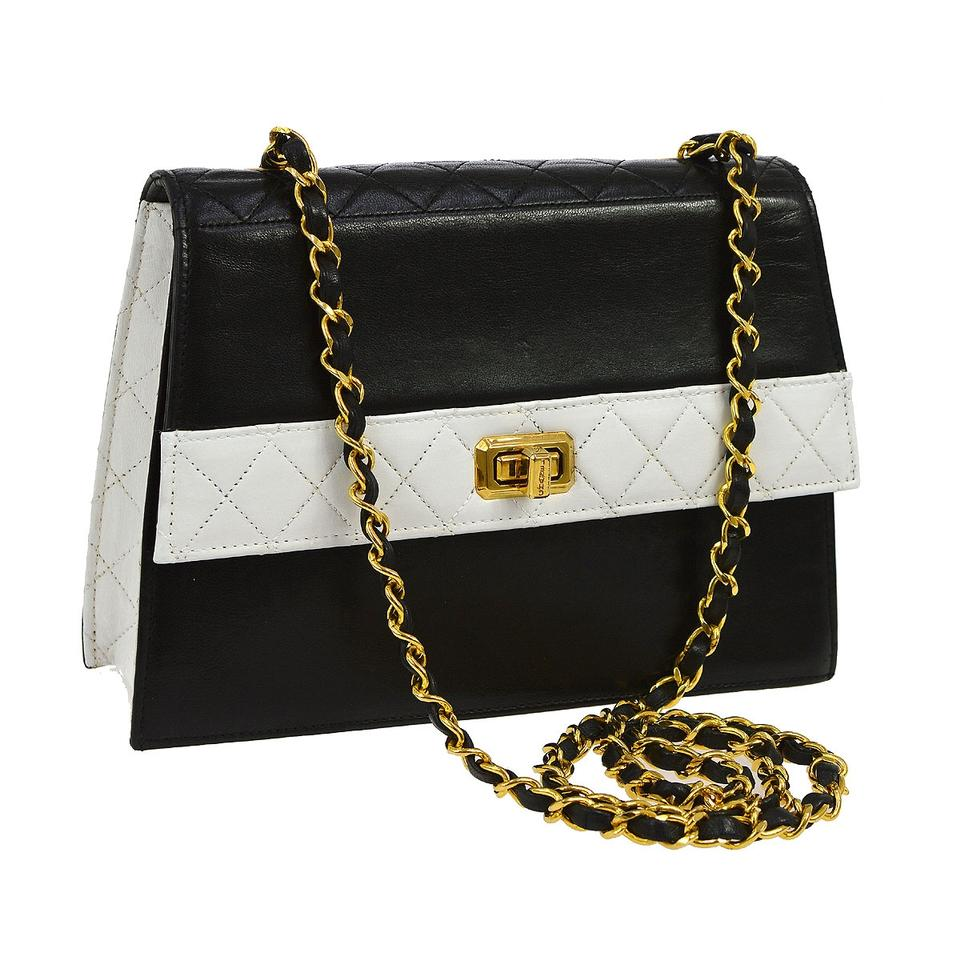 4c935c7a80bd Chanel Quilted Two Tone Vintage Rare Flap White Black Lamb Leather Cross  Body Bag
