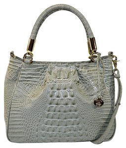 Brahmin Croco Leather Ruby Satchel in Silver Sage