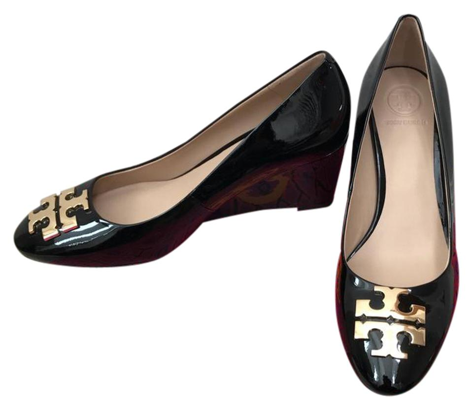Tory Burch Black/ Gold 7.5m ' Raleigh Wedges ' 70mm Patent Leather Wedges Raleigh 2149c2