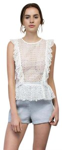 Armed Imogen Crochet Ruffle Top White