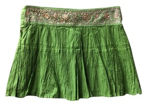 BCBG Max Azria Skirt Lime Green w/Gold Beaded Waistband