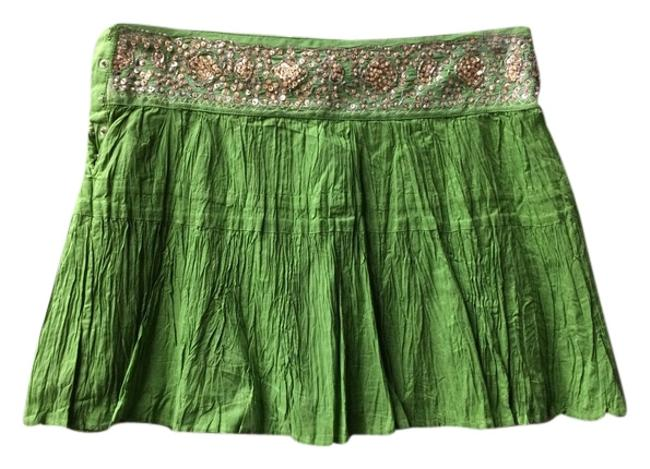 BCBGMAXAZRIA Skirt Lime Green w/Gold Beaded Waistband