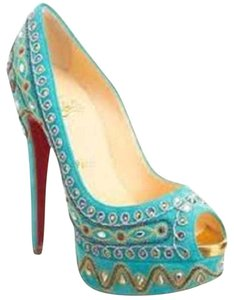 Christian Louboutin Suede Bollywoody Jewel Embroidered Turquoise Blue Platforms